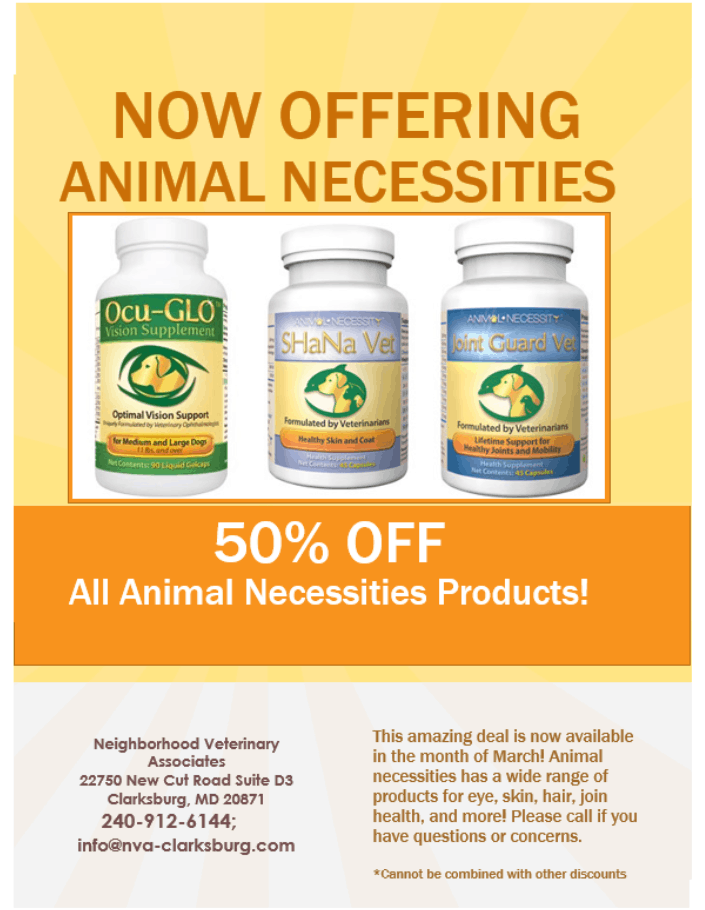 50% off Animal Necessities products through the month of March